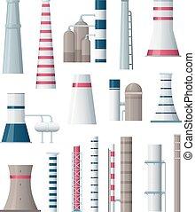atmosfera, industrial, fábrica, ilustração, fumos, vetorial, chaminé, pipe., fabricando, vapor, producao, poluição