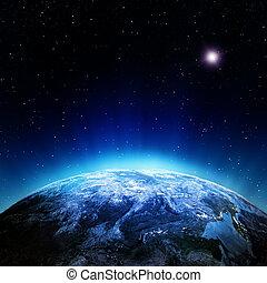 atmosfera, nuvens, espaço