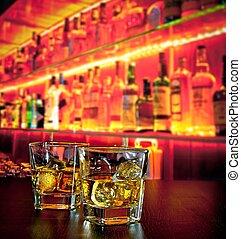 atmosfera, sbarra, ghiaccio, whisky, riscaldare, bottiglia,...