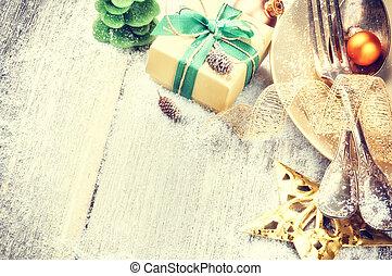 atmosfera, złoty, zmontowanie, zielony stół, boże narodzenie