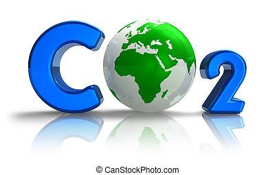 atmosferisch, vervuiling, concept:, co2, formule