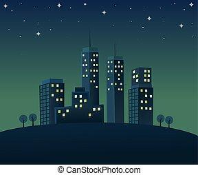 atmosphäre, nachtzeit, stadt