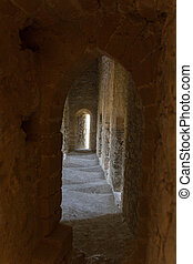 atmosphärisch, mittelalterlich, innenseite, korridor, hofburg, ansicht