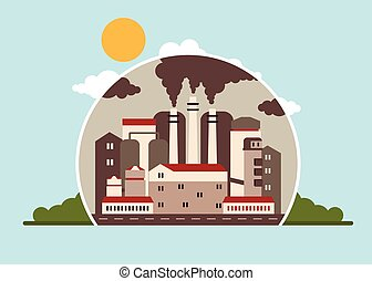 atmosphère, usine, polluer