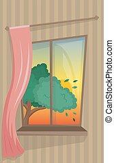 atmosphérique, confortable, fenêtre, arbre., curtain., levers de soleil, vue