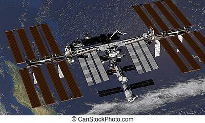 atmosphere., イメージ, レンダリング, 上に, nasa., iss, 要素, 地球, 駅, これ, 供給される, 回転式である, インターナショナル, スペース, 3d