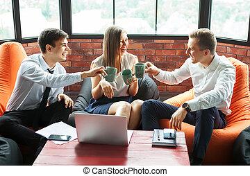 atmosphere., affari, informale, persone, gruppo, ...
