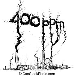 Atmospheric Carbon Level - A cartoon showing factories and...