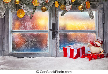 Atmospheric Christmas window sill decoration with beautiful ...