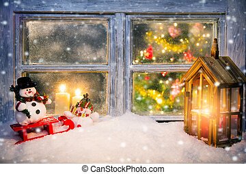Atmospheric Christmas window sill decoration with cozy home ...