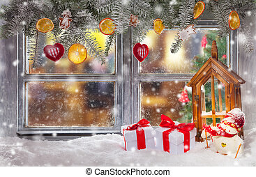 Atmospheric Christmas window sill decoration with home cozy ...