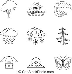 Atmospheric condition icons set, outline style - Atmospheric...