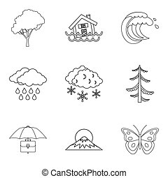 Atmospheric condition icons set, outline style