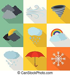 Atmospheric icons set, flat style - Atmospheric icons set....