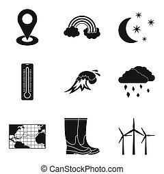 Atmospheric icons set, simple style