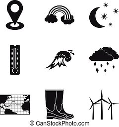 Atmospheric icons set, simple style - Atmospheric icons set....