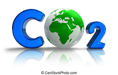 Atmospheric pollution concept: blue CO2 formula with green Earth globe isolated on white reflective background
