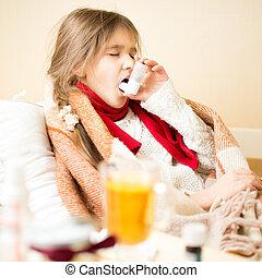 atmungs, bett, krankheit, krank, gebrauchend, m�dchen, inhalationsapparat, liegen