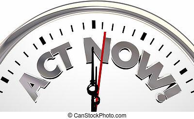 ato, agora, relógio, limitado, tempo, importante, lembrete, 3d, ilustração