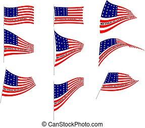 atol, vector, vlag, bikini, illustratie, set
