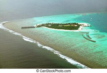 Atoll - Beautiful Maldivian atoll seen from the flying...