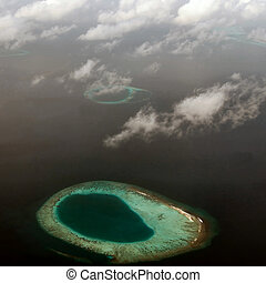 Atoll in Maldives, view from the plane