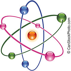 atom, abstrakt, vektor, ikone