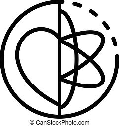 Atom and heart in a circle icon, outline style