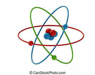 Atom - atom structure model isolate on white background