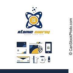 Atom atomic energy logo icon