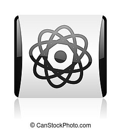 atom black and white square web glossy icon