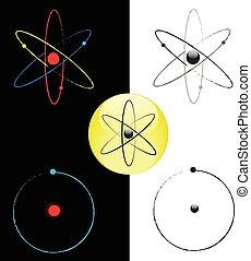 Atom black and white vector symbols