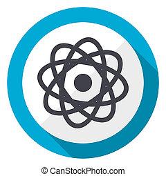 Atom blue flat design web icon