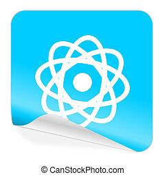 atom blue sticker icon