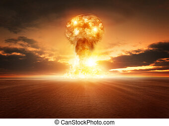 Atom Bomb Explosion - A modern nuclear bomb explosion in the...