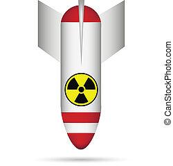 Atom bomb on white - vector illustration.