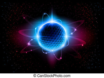 Atom - The central nucleus are surrounded by a cloud of...