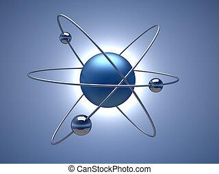 Atom - Conceptual structure of atom - 3d render illustration