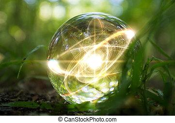 Atom Crystal Ball Nature - Magic crystal ball atom on forest...