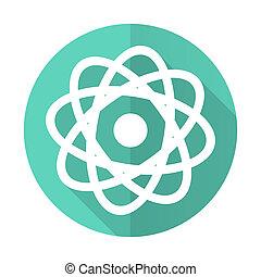 atom, desgn, błękitne tło, ikona, koło, cień, płaski, długi, biały
