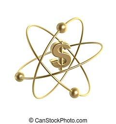 golden atom dollar strucure isolate on white background
