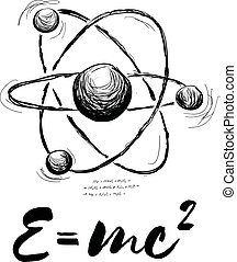 Atom drawn with formula. Vector abstract illustration on white