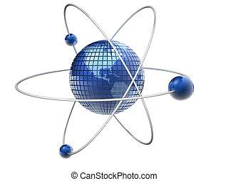 Atom Earth - Earth globe like an atom - 3d render
