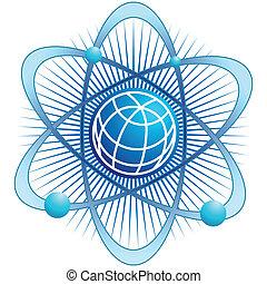 atom globe isolated on a white background.