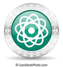 atom green icon, christmas button