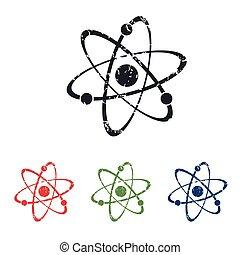 Atom grunge icon set