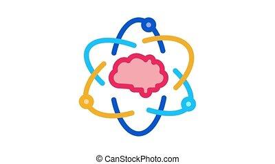 Atom Human Brain Icon Animation. color Atom Human Brain animated icon on white background