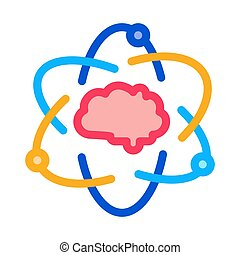 Atom Human Brain Icon Vector Outline Illustration