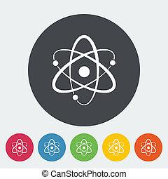 Atom icon - Atom. Single flat icon on the circle. Vector...