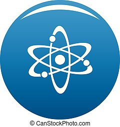 Atom icon blue vector